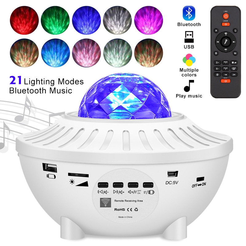 النجوم السماء غالاكسي العارض ضوء الليل الطفل الأزرق USB مشغل موسيقى ليلة ضوء رومانسية الإسقاط مصباح لغرفة النوم ديكور