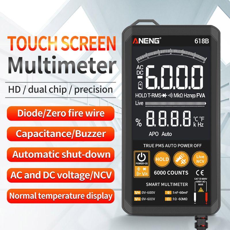 Multímetro Digital táctil inteligente 618B probador analógico DC/AC valores eficaces verdaderos condensador Transistor profesional NCV Multimetro Automático/Manual