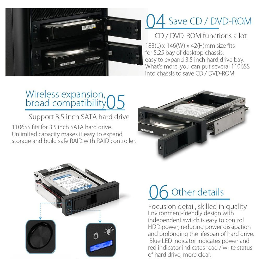 ORICO 1106SS 3.5 inch CD-ROM Space SATA HDD Mobile Rack SSD Hard Drive Conversion Internal Mobile Backplane Enclosure enlarge