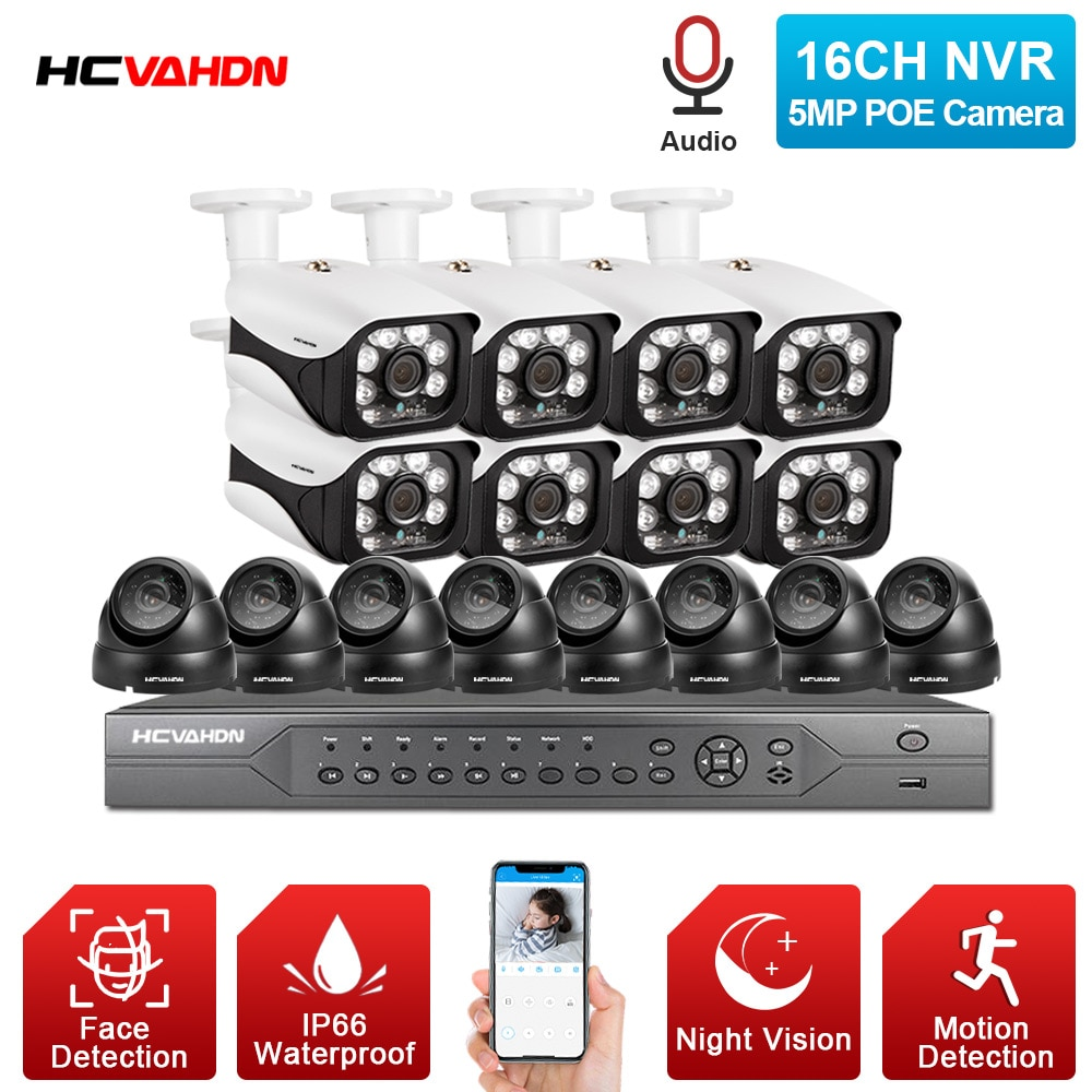 أنظمة المراقبة بالفيديو h265 ، كاميرات 16 قناة ، NVR 4k ، فائقة الدقة ، مقاومة للماء ، 5.0 ميجابكسل ، كاميرا أمان IP ، P2P ، مجموعة نظام المراقبة