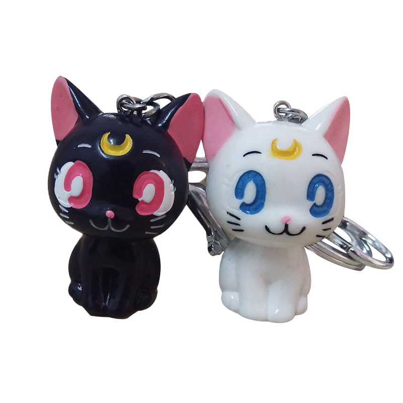 12 stuks Anime Sailor Moon Sleutelhanger Luna Paars zwarte Kat Cosplay sleutelhanger Leuke animal Hanger Sleutelhanger gift voor vrouwen kids fashion