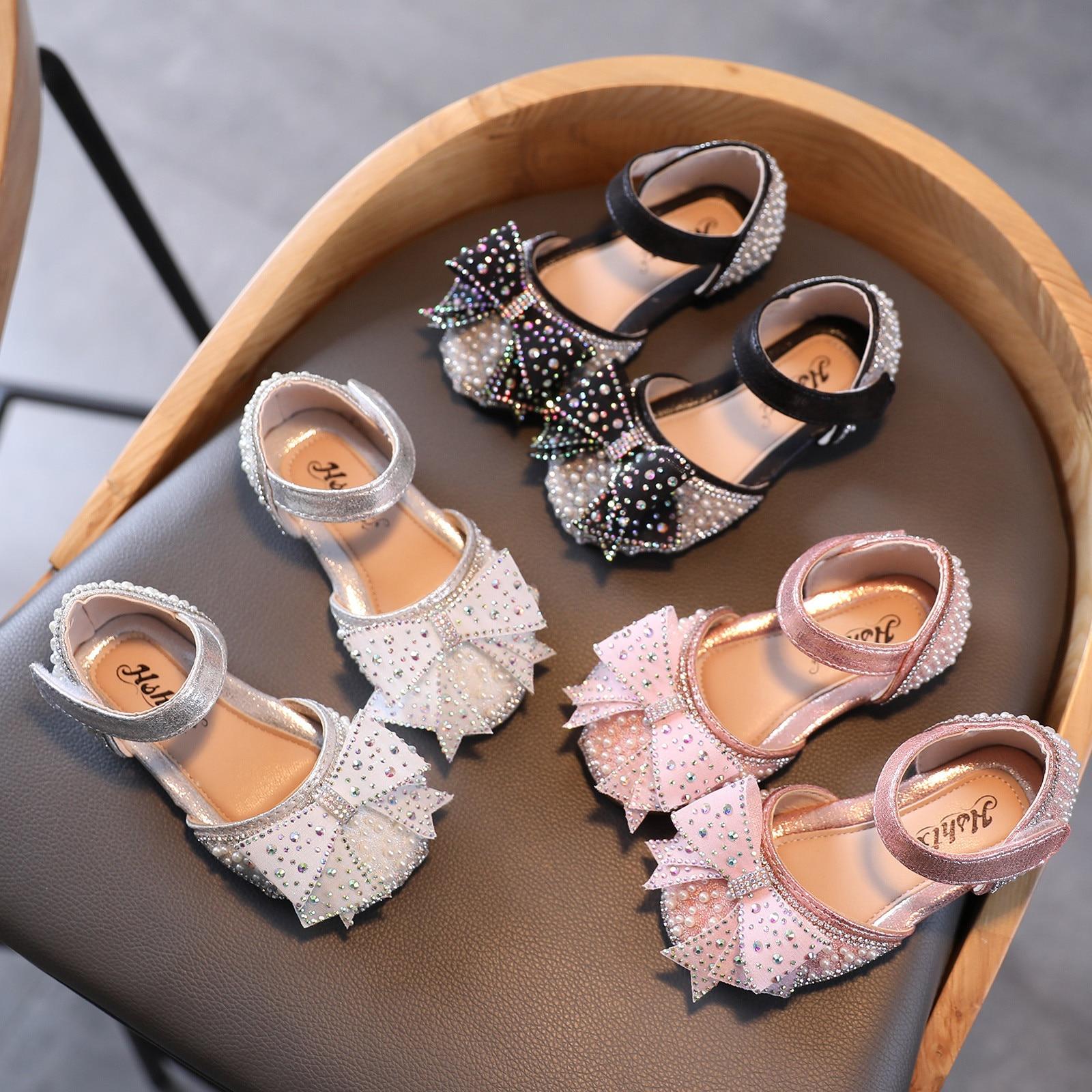 New Arrival Rhinestone Girls Princess Sandals Toddler Infant Kids Baby Bowknot Crystal Sweet Shoes Sandalias детская обувь W*