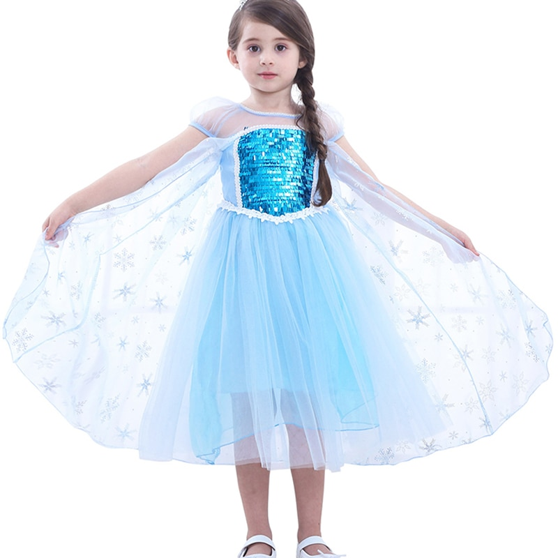 Floco de neve aisha princesa vestido para meninas neve rainha traje tutu fantasia vestido de manga curta tule bonito menina vestir