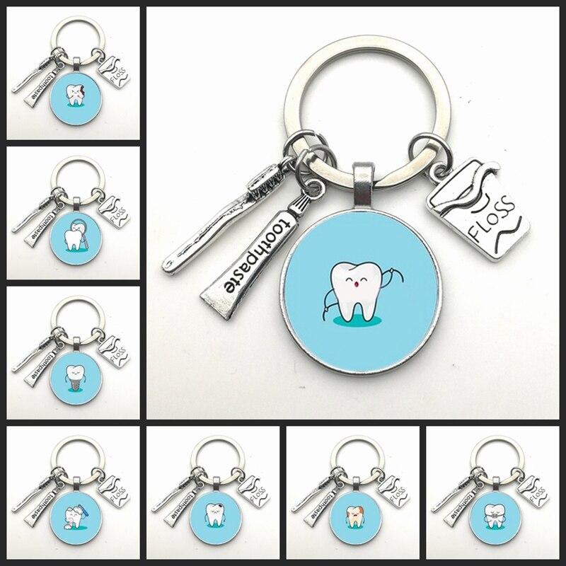 Llavero con forma de diente I Love, nuevo, Mini cepillo de dientes, pasta dental, llavero, joyería de moda, regalos para hombres y mujeres