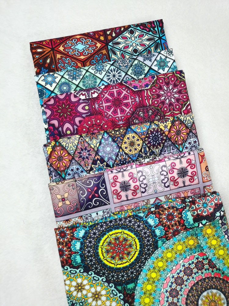 Africa Ancient Square Mysterious Religious Cotton Fabric Geometry flower Sewing Cloth Dress Clothing Textile Tissue Patchwork