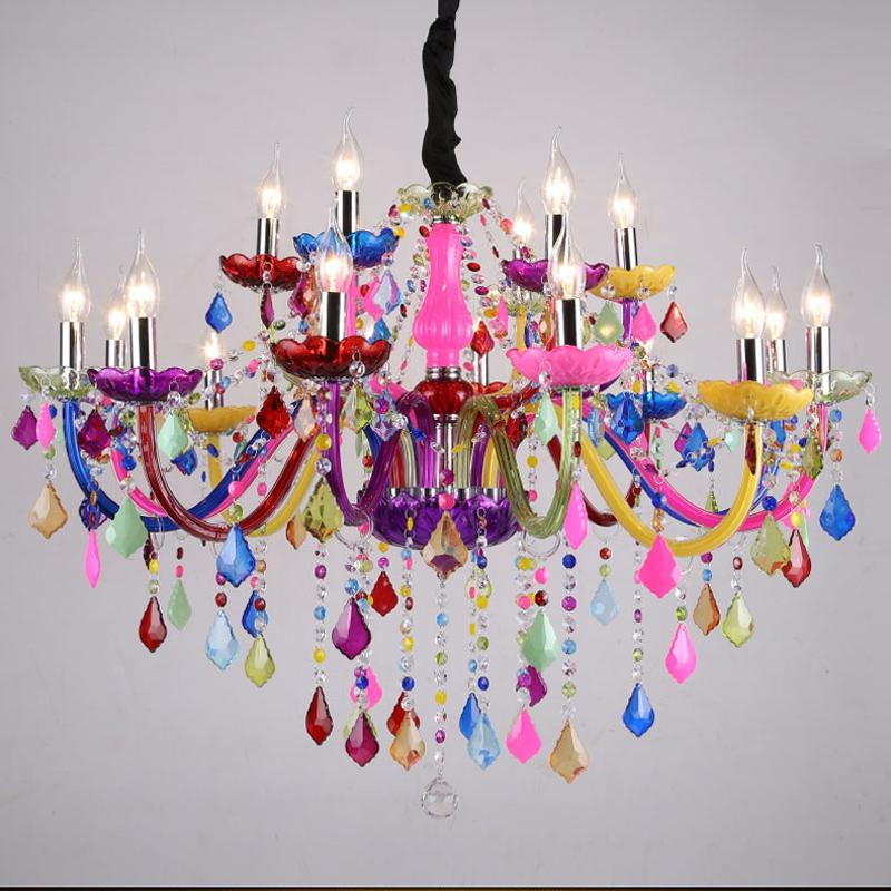 Candelabros de cristal modernos, lámparas colgantes LED de colores, lustres de cristal...