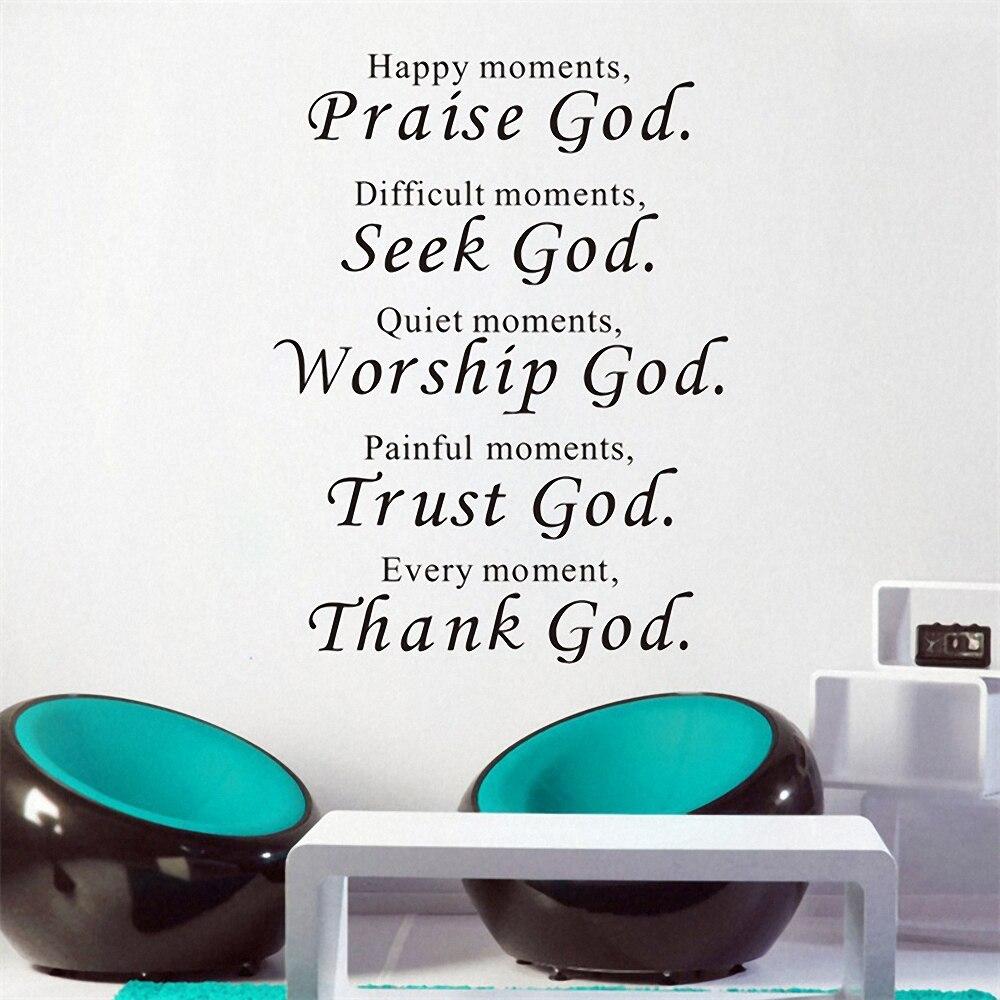 Pegatinas de pared bíblicas Praise Seek adoration Trust Thank God adhesivos de pared con frases DIY Living fondo de sala Mural de pared