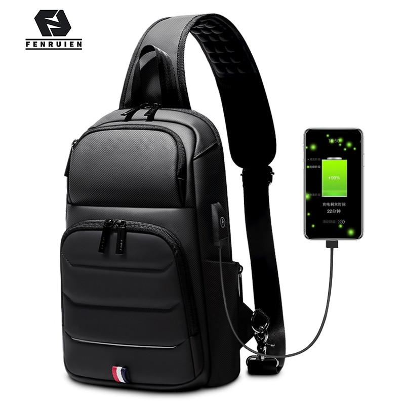 Fenruien-حقيبة كروس للرجال مقاومة للماء مع شحن USB ، حقيبة كتف للرجال ، حقيبة صدر قصيرة ، مناسبة لأجهزة iPad مقاس 9.7 بوصة