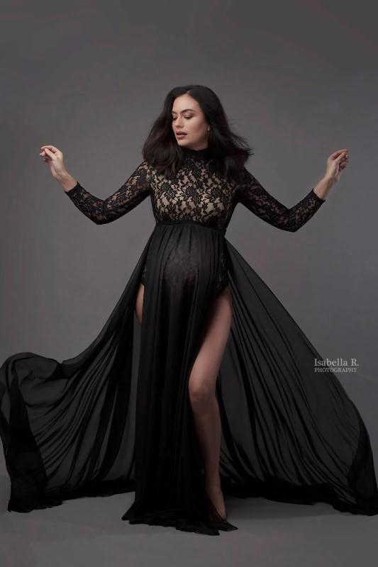 Maxi Maternity Gown Dresses for Photo Shoot Pregnant Women Long Sleeve Black Lace Turtleneck Photography Dresses Pregnancy Dress enlarge