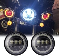 new 4 5 inch round black cree led fog lights with red demon eyeswhite drlamber turn signal halo for harley davidson motorcycle