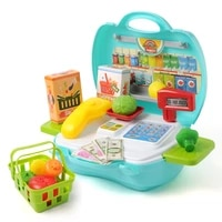 mini simulated supermarket cash register kits toys kids checkout counter role pretend play cashier toys girl shopping basket