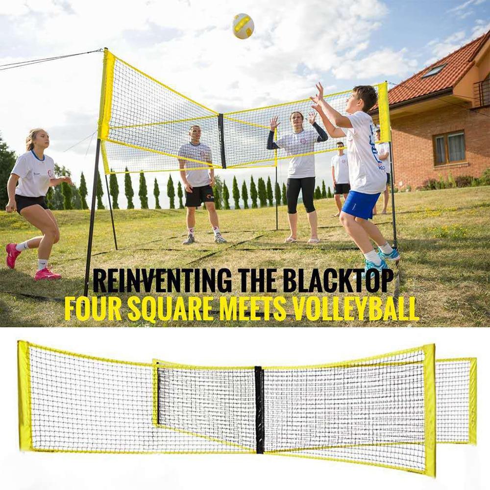 1.5m portátil quatro quadrados rede de treinamento esporte vôlei net configuração rápida jardim ao ar livre quintal grama praia voleibol net