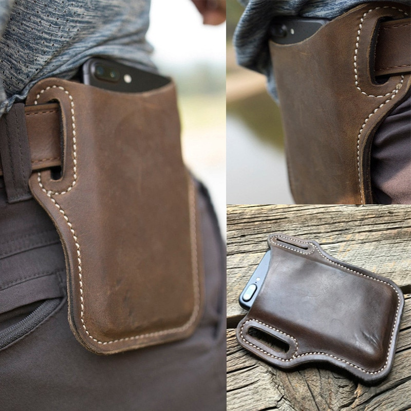 yiang new men s genuine leather cowhide vintage belt pouch purse fanny pack waist bag for cell mobile phone case cover skin Upgrade New Men Leather Vintage Pack Waist Bag Belt Clip Phone Holster Travel Hiking Cell Mobile Phone Case Belt Pouch Purse