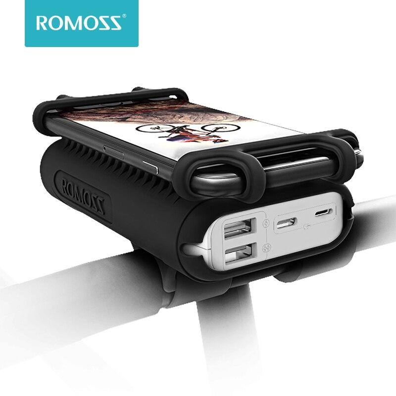 ROMOSS UR01 باور بانك 10000mAh للدراجات 2 في 1 بطارية خارجية محمولة مع حامل هاتف للدراجة آيفون شاومي