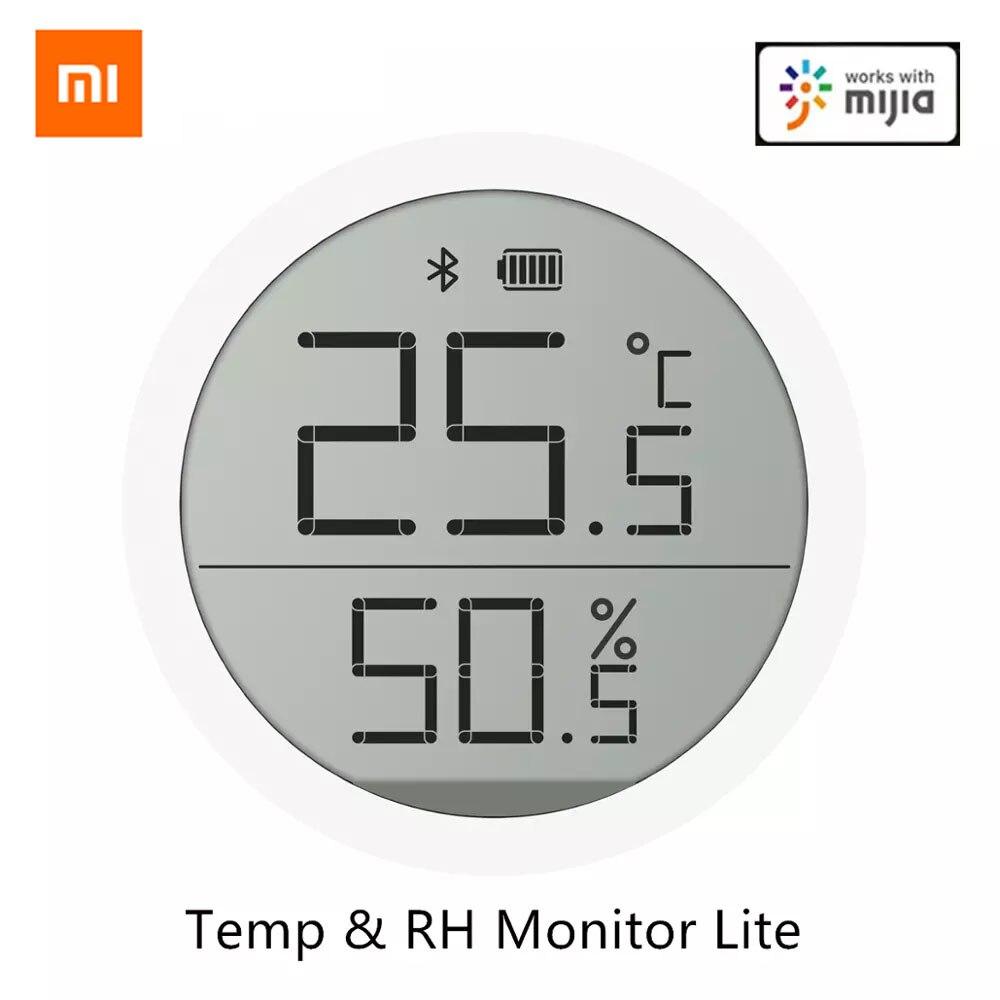 Xiaomi bluetooth temperatura umidade sensor lite versão de armazenamento dados lcd tela tinta termômetro suporte mi casa app