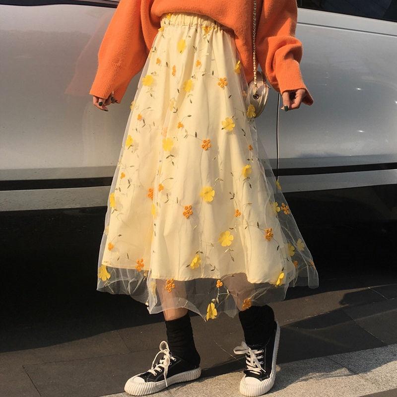Женская кружевная юбка с завышенной талией, желтая длинная юбка из тюля с цветочным 3D рисунком, милая Студенческая школьная одежда