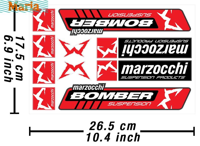 Marzocchi Bomber Adesivi per decalcomanie Heavy Duty Vinyl Decals 10 Sets Car Sticker JDM A4 Q3 Car Decoration