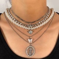 trendy white imitation pearl beads choker silver color multilayer angel portrait charms metal chain necklaces for women jewelry