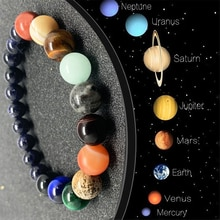 Couple Eight Planets Natural Stone Bracelet Lovers Healing Universe Galaxy Beads for Men Mixed Color