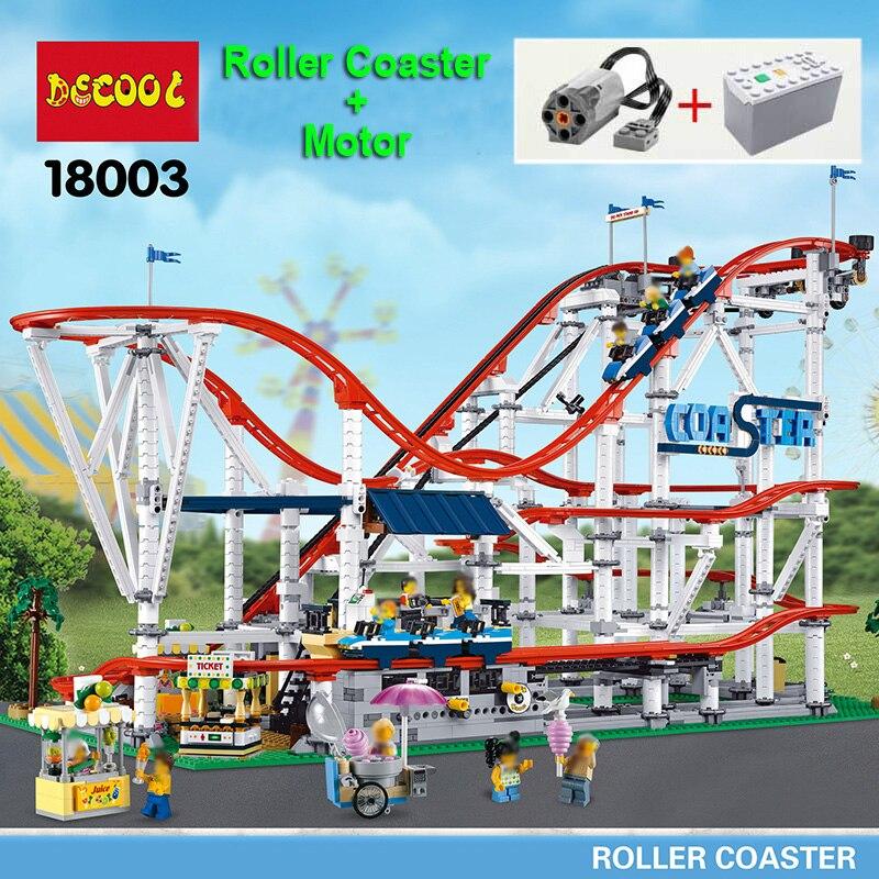 Juego técnico de Montaña Rusa Creator Expert, bloques de construcción con Motor 10261 15039, juguetes de regalo de cumpleaños