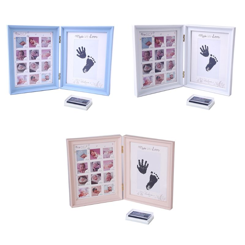 Almohadilla de tinta para pies y manos para bebés recién nacidos, marco de fotos L41D para crecimiento de la edad de la luna llena
