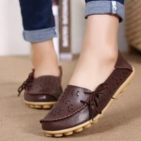 womens casual shoes genuine leather woman loafers slip on female flats moccasins ladies driving shoe cut outs mother footwear