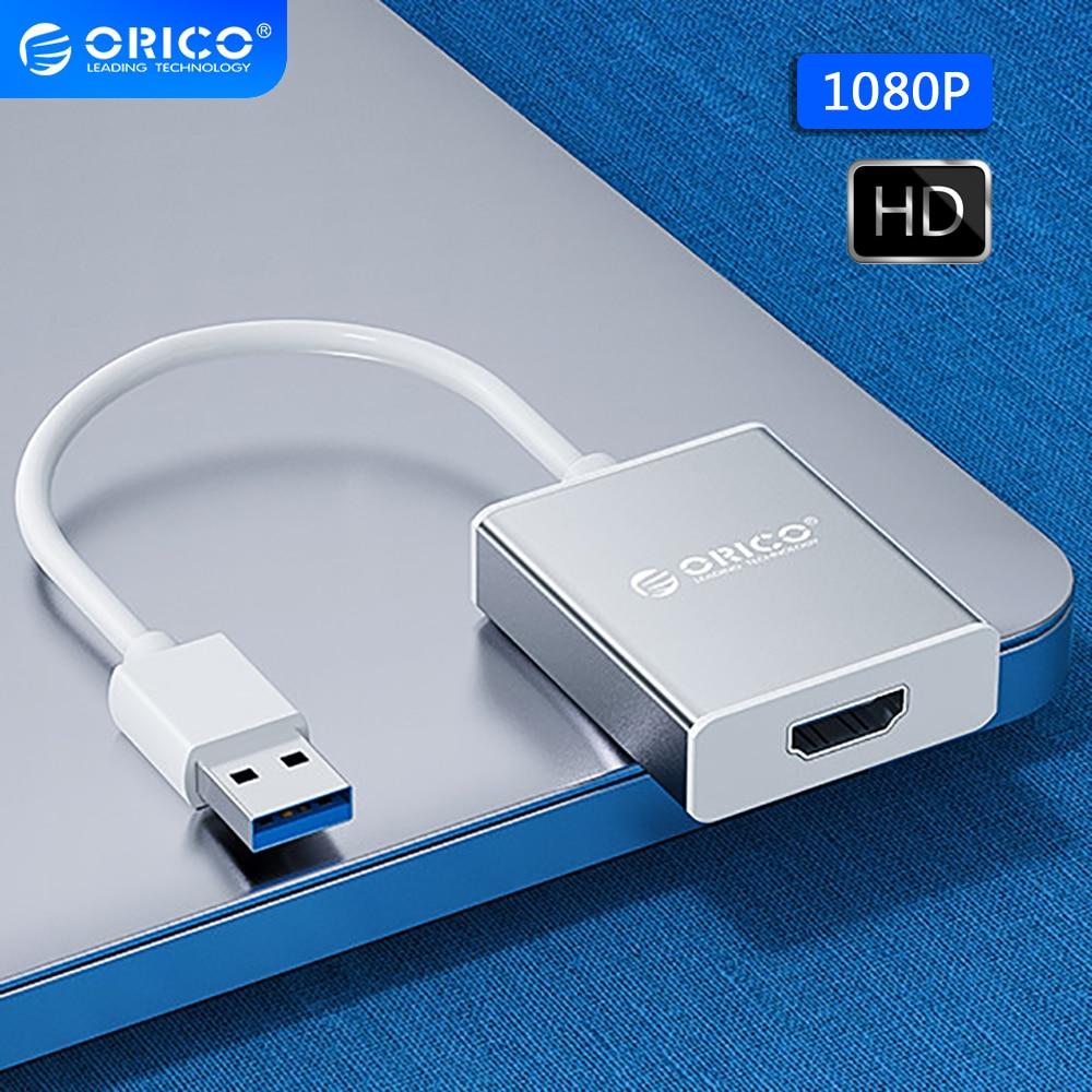 محول من ORICO USB 3.0 إلى HDMI متوافق مع كابل 1080P عالي الدقة VGA لعبة جهاز عرض للتلفاز محول الصوت والفيديو محور USB للكمبيوتر المحمول MacBook
