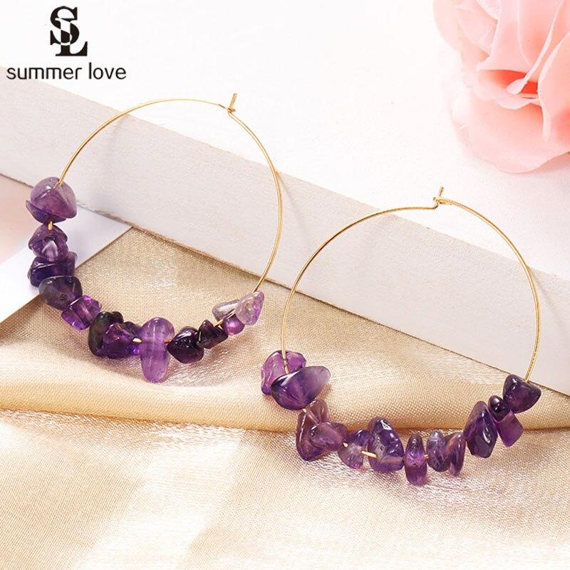 2020 nouveau coloré naturel pierre boucles doreilles cerceau pour les femmes bohème or couleur ronde cercle créole boucle doreille à la main Simple bijoux