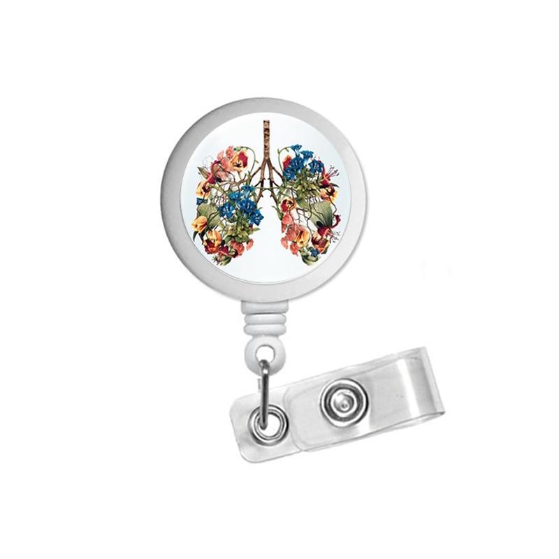 Flower Lung Art Abstract ID Badge Reel Holder Clip Holder Retractable RT Nurses Pulmonary