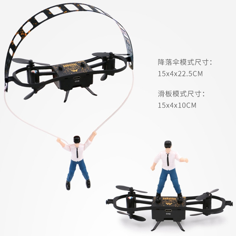 NYR Toy F5 Chicken-Eating Skateboard Remote Control Rechargeable Aircraft UAV Fixed Height Model Aircraft Parachute Four-Axis Ai enlarge