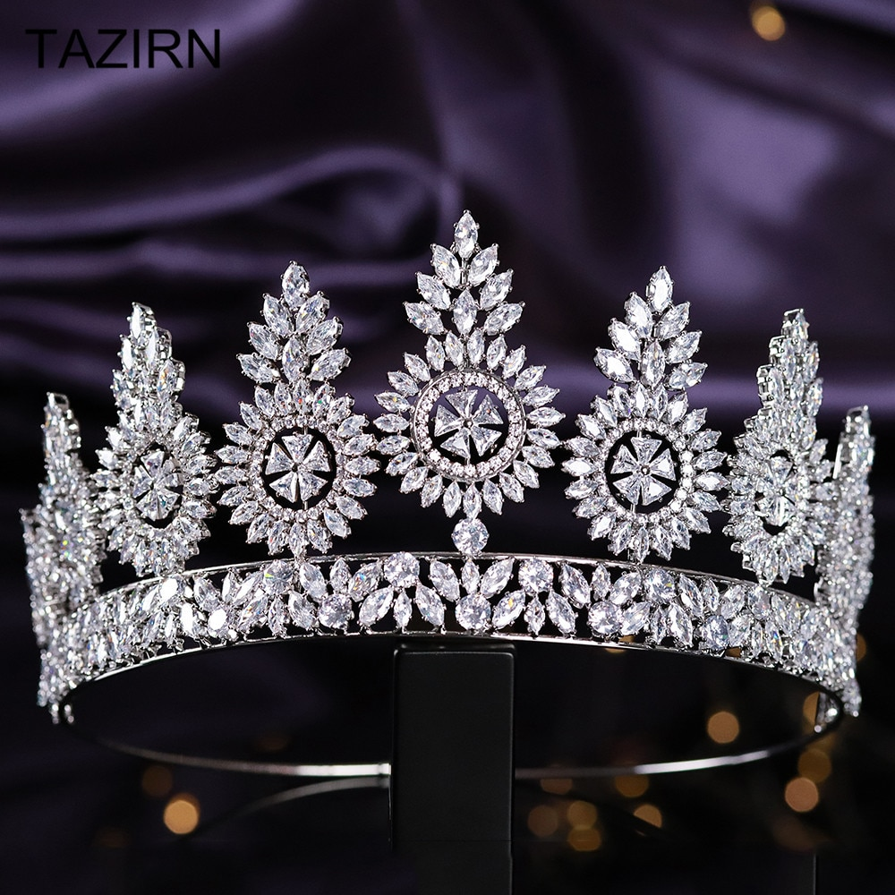 Lujosa corona de reina de Zirconia cúbica, Tiaras altas para boda, circonita cúbica, accesorios de joyas para el pelo, circonita, desfile, tocados