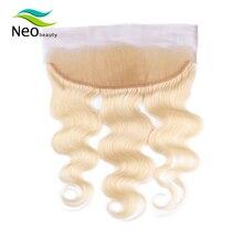 Cheveux brésiliens naturels Body Wave Swiss Lace Frontal   Cheveux lisses, blond 613, 13x4, avec Baby Hair, livraison gratuite