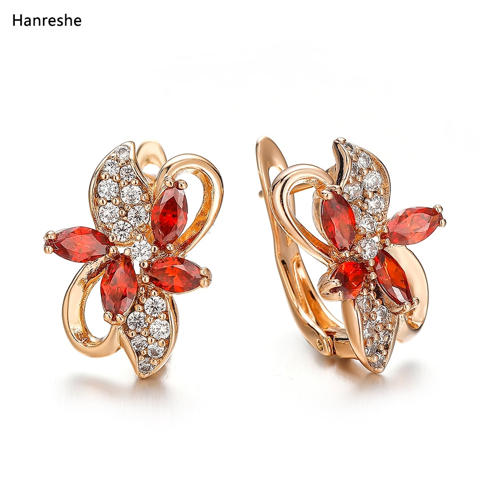 AliExpress - Hanreshe Fashion Classic Natural Zircon Crystal Earring Jewelry Lady Woman High Quality Red Blue Flower Earring Wedding Gift