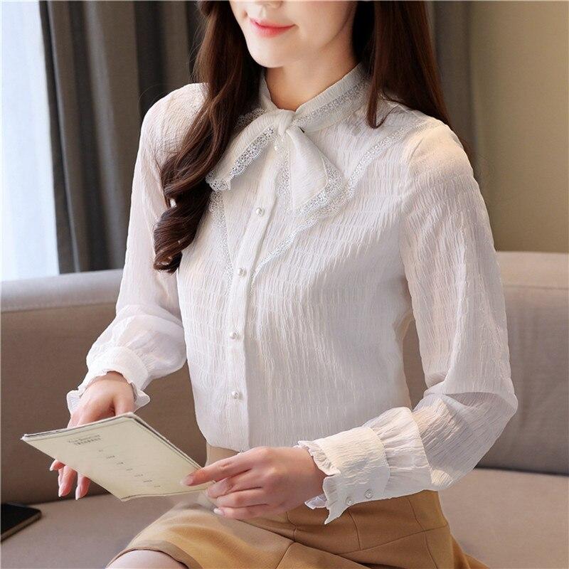 Korean Women Blouse White Blouses for Chiffon Tops Woman Petal Sleeve Lace Shirts Bow Tie