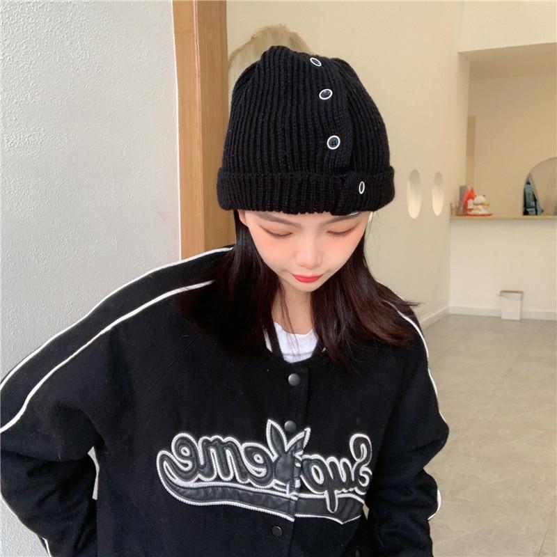 Personality Fastener Decoration Knitted Woolen Cap Female Black Korean Street Hipster Hip Hop Beanie