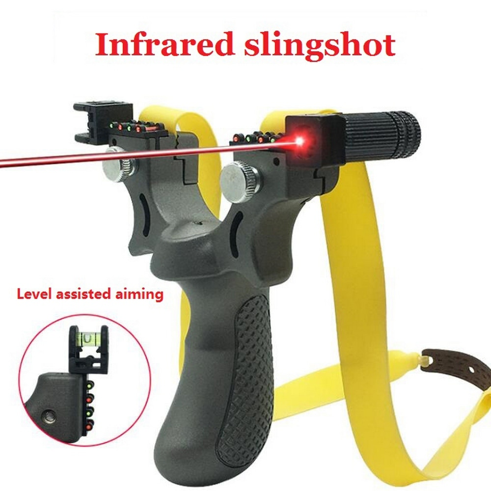 Professional Hunting Slingshot With Level High Precision Instrument For Outdoor Catapult Slingshot Balls Laser Aiming Shooting
