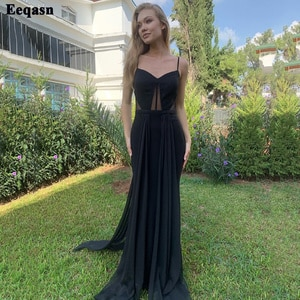 Eeqasn Simple Black Chiffon Evening Dresses Long Spaghetti Strap Beaded Formal Prom Party Gowns For Women Celebrity Dress 2022