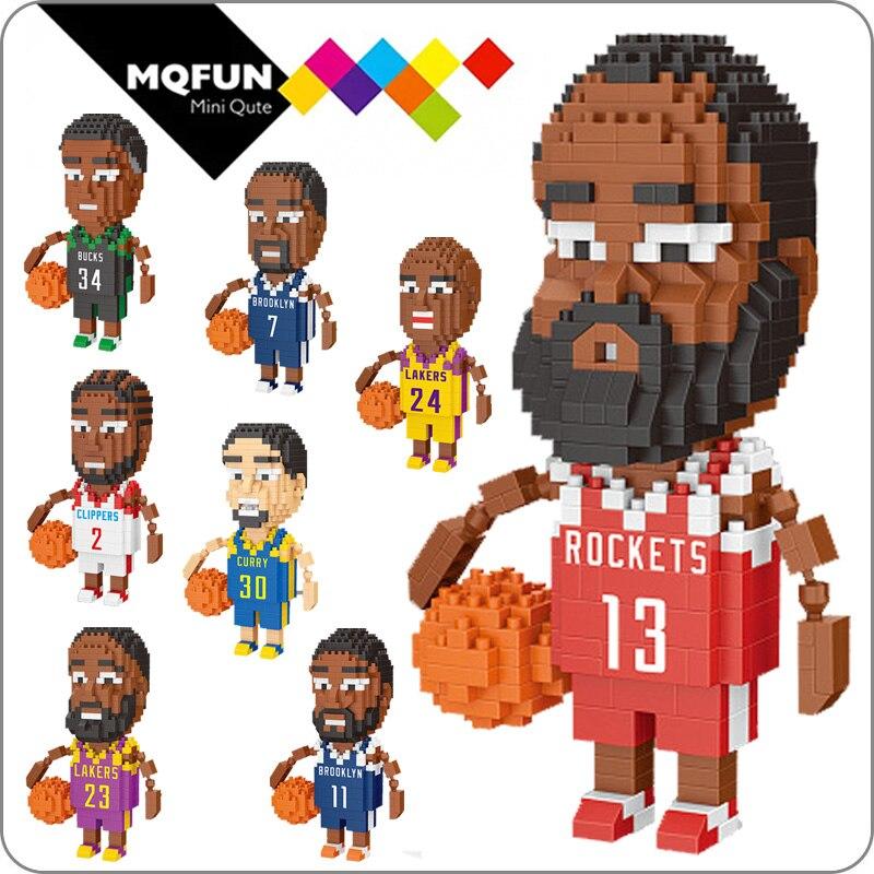 Wisehawk micro jogador de basquete mini blocos de construção figura tijolos diamante brinquedos diy modelo educacional endurecer curry kobe james
