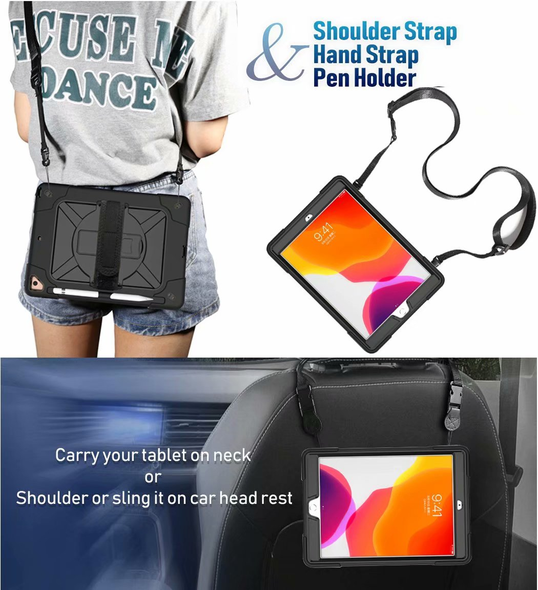 Heavy Hybrid 2020 Shockproof For Armor Rugged Case Pencil Holder 8th Duty Generation iPad