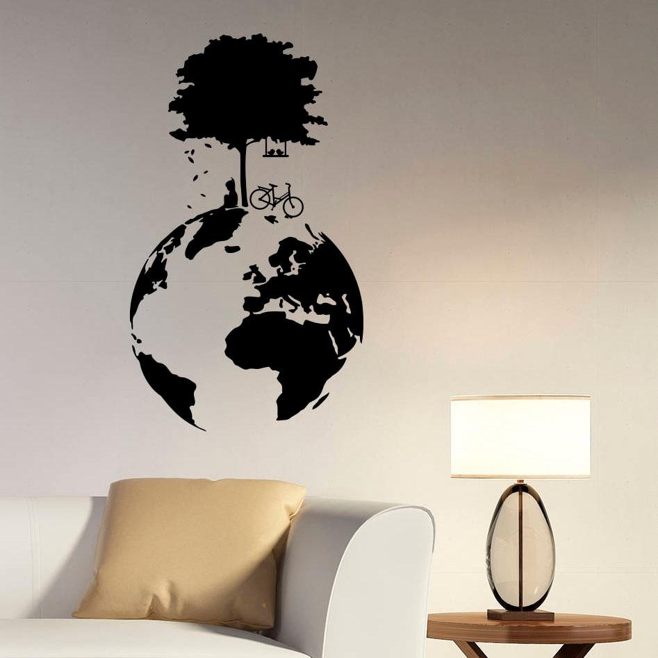 Vinilo decorativo de pared de árbol, globo, mundo, puerta, vinilo adhesivo para ventana, temática ecológica, dormitorio, aula, decoración de interiores Q686