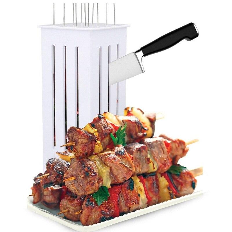 Fácil barbacoa Kebab hacer brochetas de carne brochetas máquina de pinchos barbacoa parrilla accesorios herramientas conjunto máquina de pinchos de carne con 16 pinchos