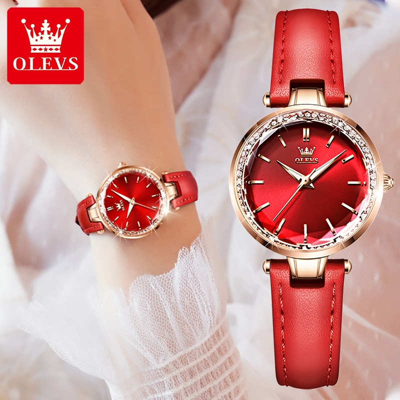OLEVS Fashion Women's Watches Luxury Diamond Bling Ladies Watch Casual Leather Quartz Watch For Wome