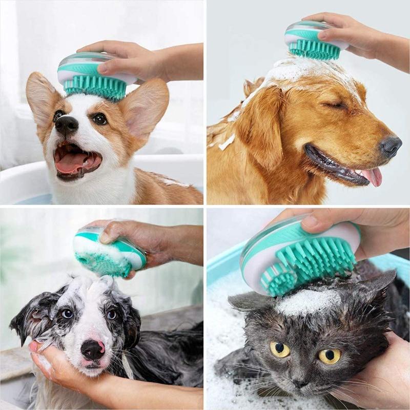 Berus mandi anjing peliharaan 2-in-1 pet SPA urut sisir silikon - Produk haiwan peliharaan - Foto 6