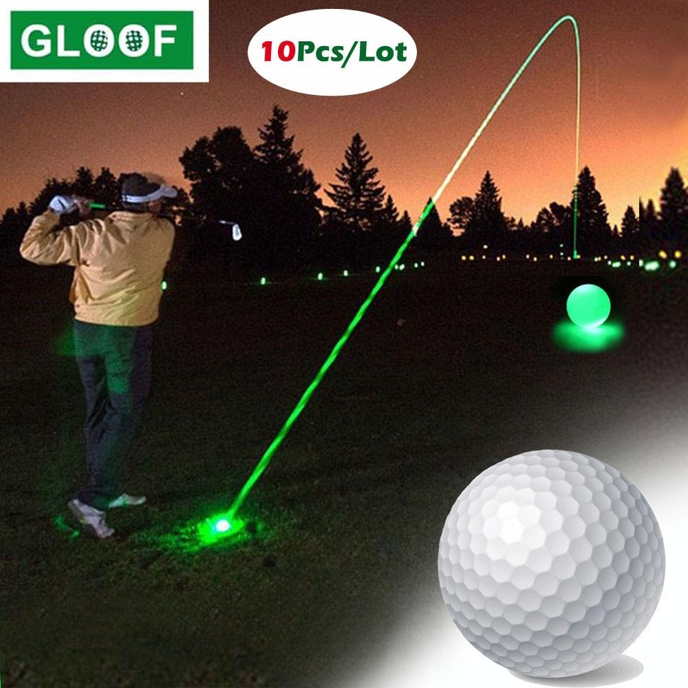 10 шт./лот, ночные мячи для гольфа, светящиеся мячи для гольфа, яркое ночное свечение, многоразовые мячи для гольфа