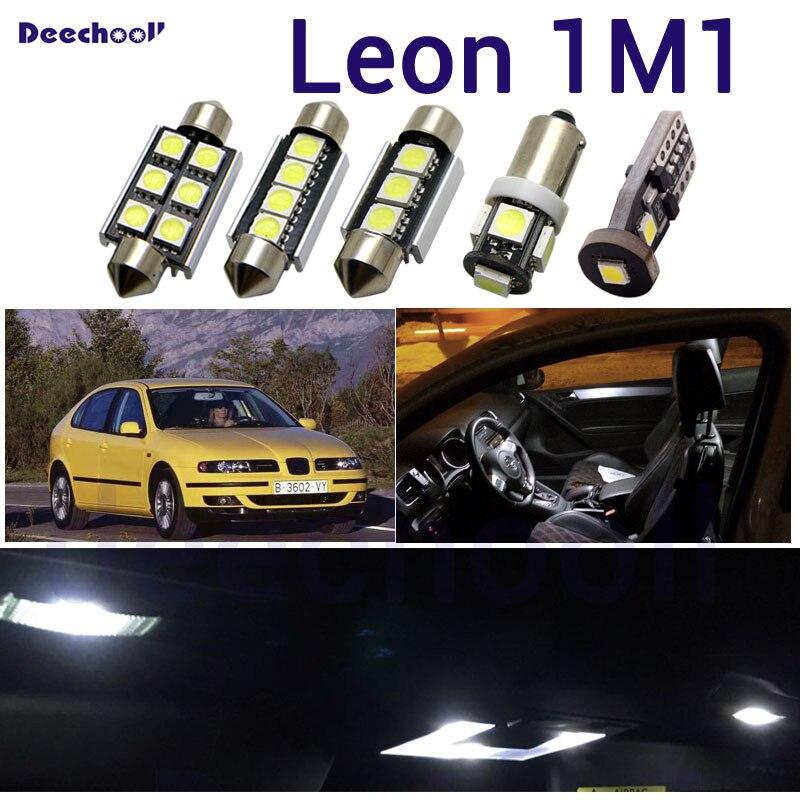 Blanco puro, 14 Uds. X Canbus LED Interior, lectura, domo, Kit de bombillas para Seat para Leon MK1 1M 1M1 Hatchback (1999-2006)