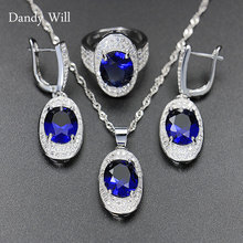 Dandy Will Blue Sapphire Wedding Jewelry Sets For Women 12 Color Topaz Amethyst Garnet Necklace Earrings Ring Jewelry