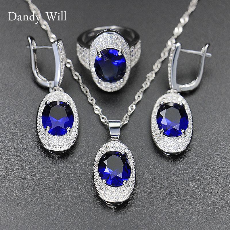Dandy Will bleu saphir ensembles de bijoux de mariage pour les femmes 12 couleur topaze améthyste grenat collier boucles doreilles anneau bijoux