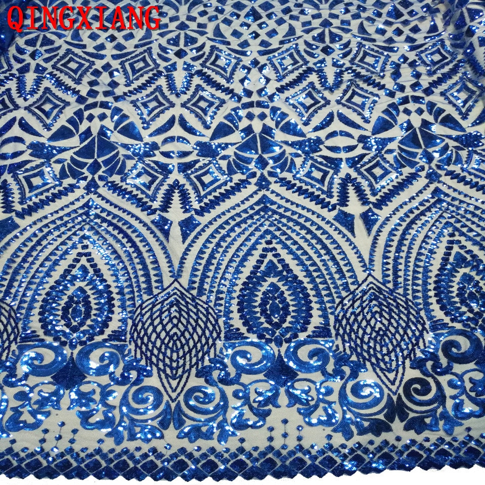 2019 Sequin African Lace Elegant French Embroidered Mesh fabric Top quality Sewing Material For Wedding Party Dress