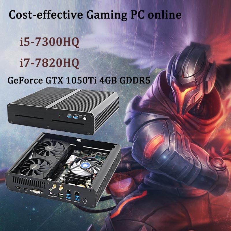 Низкая цена мини игровой ПК Intel Core i5-7300HQ i7-7820HQ GTX 1050Ti 4 ГБ 2 * DDR4 игра настольный компьютер windows 10 4K HDMI, DVI HDMI DP