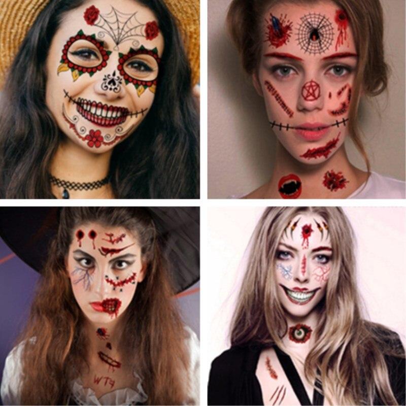 Наклейка-на-лицо-для-Хэллоуина-страшные-шрамы-водостойкая-татуировочная-наклейка-145-205-мм-1-шт